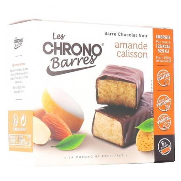 Protifast Chrono-Barres Chocolat Noir Amande Calisson 6 Barres