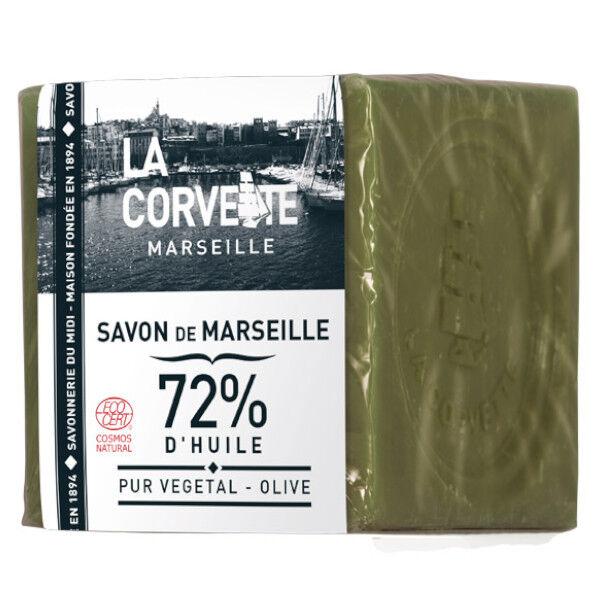 La Corvette Marseille Cube de Savon de Marseille Olive Filmé 200g