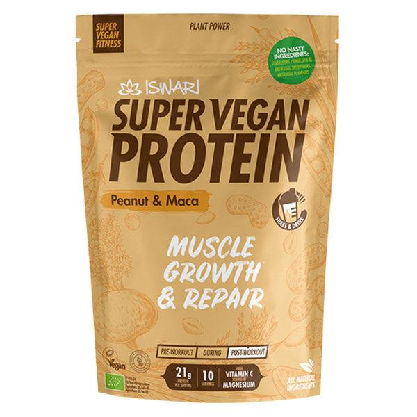 Iswari Super Vegan Fitness Protéine Cacahuètes Maca Bio 350g