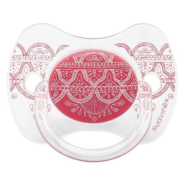 Suavinex Sucette Silicone Revers Couture Ethnic Rose 0-4m