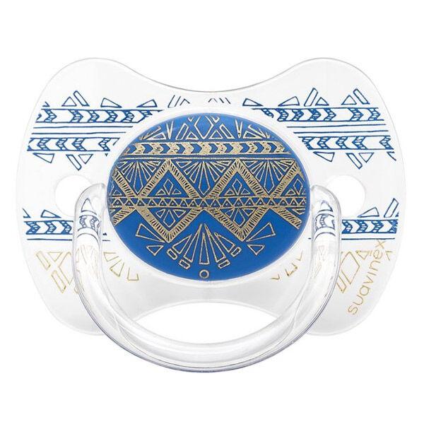 Suavinex Sucette Silicone Revers Couture Ethnic Bleu 0-4m
