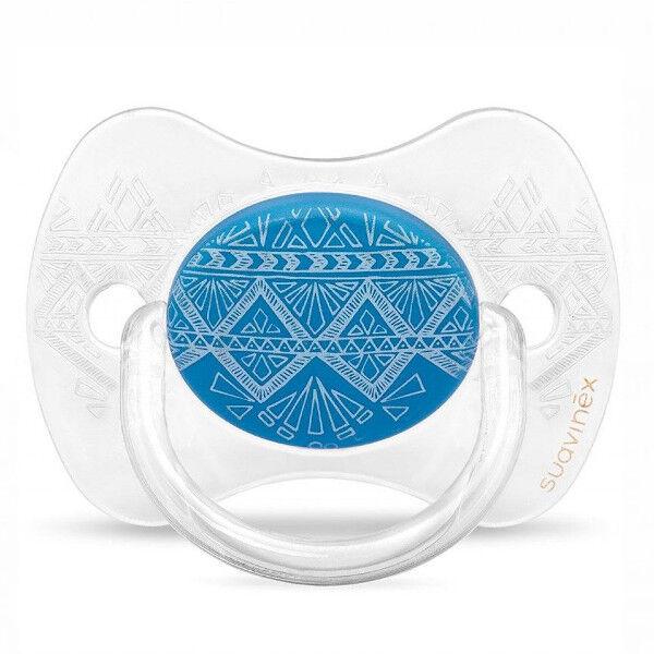 Suavinex Sucette Silicone Revers Couture Ethnic Transparent Bleu 0-4m