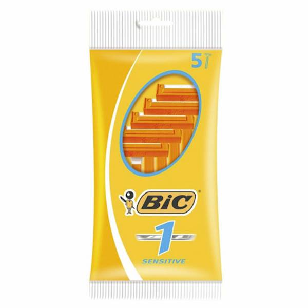 BIC 1 Sensitive Rasoirs Jetables 1 Lame 5 unités