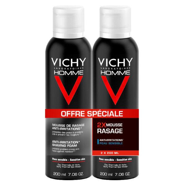 Vichy Homme Mousse à Raser Peaux Sensibles Anti-Irritations Lot de 2 x 200ml