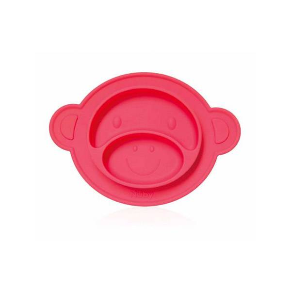 Nuby Assiette Anti-Dérapante Silicone Singe Rouge +9m