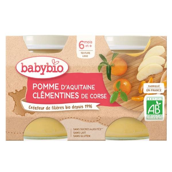 Babybio Mes Fruits Pots Pomme Clémentine Corse dès 6 mois 2 x 130g