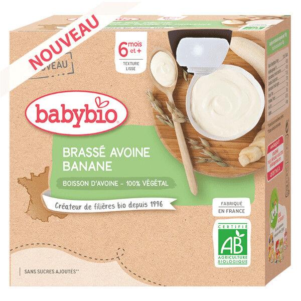 Babybio Gourdes Lactées Mes Brassés à l'Avoine Banane dès 6 mois 4 x 85g