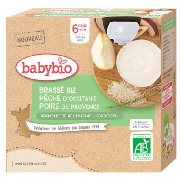 Babybio Gourdes Lactées Brassé Végétal base Riz Pêche Poire dès 6 mois 4 x 85g