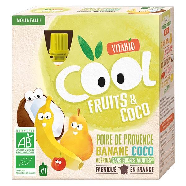 Vitabio Cool Fruits Poire Banane Coco Acérola Bio Lot de 4x85g