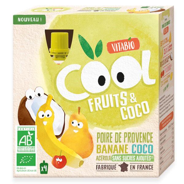 Vitabio Cool Fruits Poire Banane Lait de Coco + Acérola 4x85g