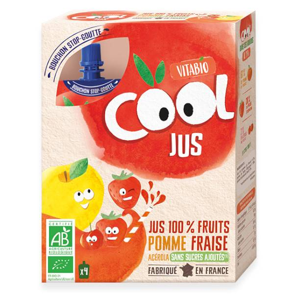 Vitabio Cool Jus Pomme Fraise Acérola 4 x 105ml