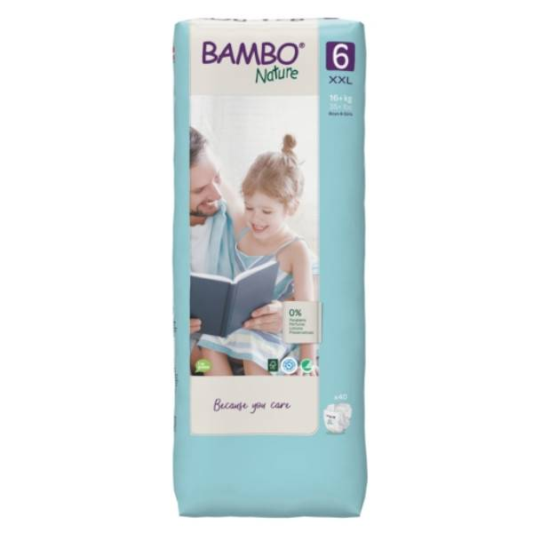 Bambo Nature Couche Taille 6 16+kg Tall Pack 40 unités
