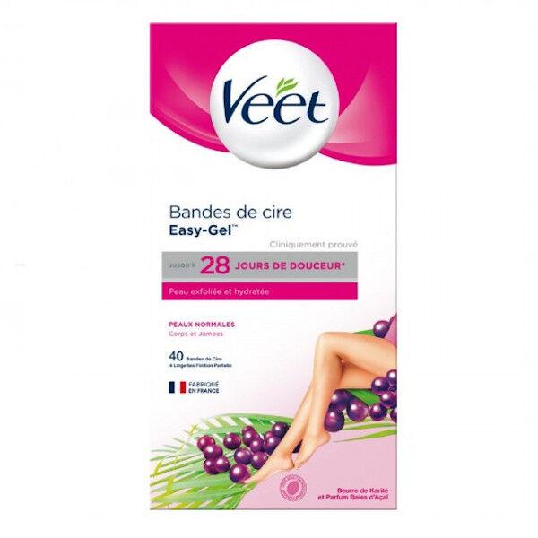 Veet Easy-Gel Bandes de Cire Froide Peaux Normales 40 unités