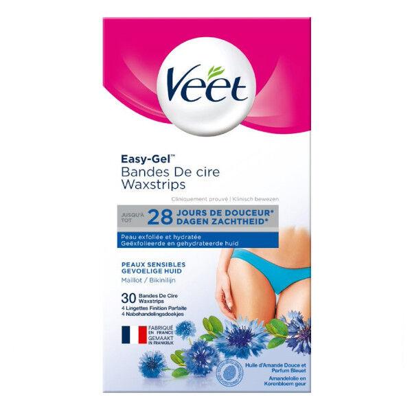 Veet Easy-Gel Bandes de Cire Froide Maillot Aisselles 30 unités