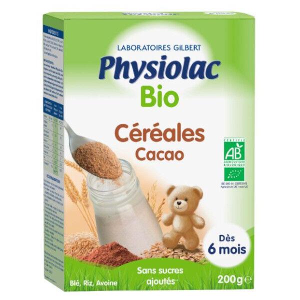 Physiolac Céréales Bio Cacao Blé Riz Avoine 200g