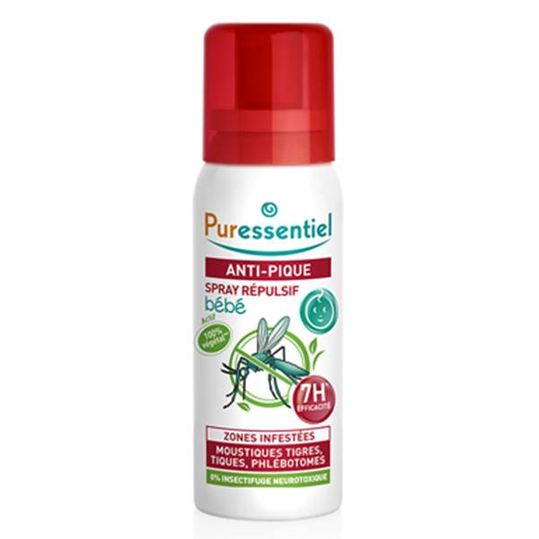 Puressentiel Anti-Pique Bébé Spray Répulsif Moustiques 60ml