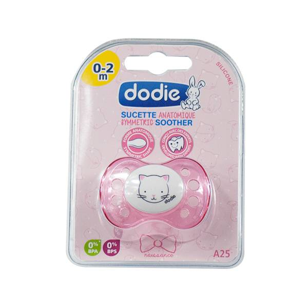 Dodie Sucette Naissance Anatomique Silicone Chat Rose 0-2 Mois A25