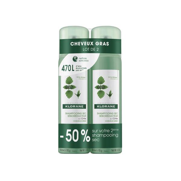 Klorane Shampooing Sec Ortie Lot de 2 x 150ml