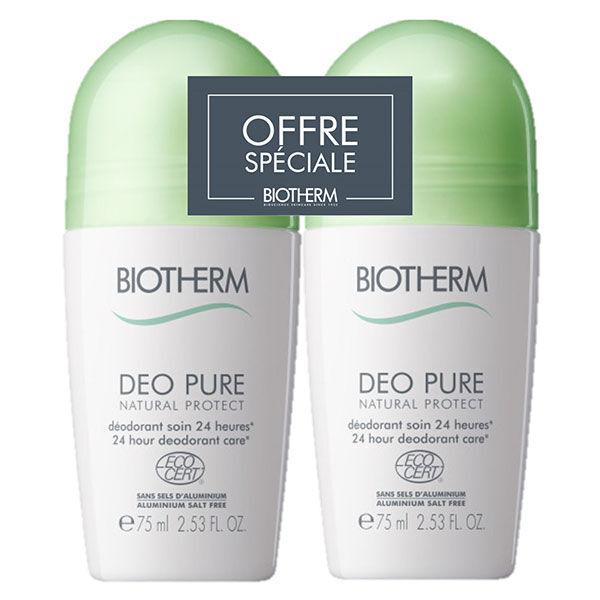 Biotherm Déo Pure Natural Protect Roll-On Biologique Ecologique À L'Aloe Vera Lot de 2 x 75ml