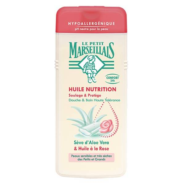 Le Petit Marseillais Huile Nutrition Sève d'Aloe Vera et Huile à la Rose 650ml