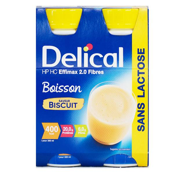 Delical Boisson HP HC Effimax 2.0 Fibres sans Lactose Biscuit 4 x 200ml