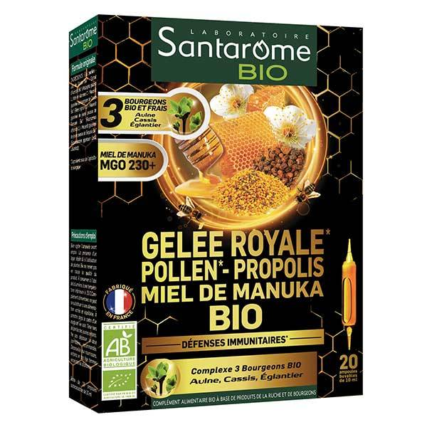 Santarome Bio Gelée Royale Pollen Propolis Miel de Manuka Bio 20 ampoules