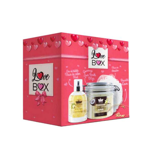 Les Petits Bains de Provence Love Box Coffret Cadeau Fleur de Coton Coco Vanille + 1 Bracelet