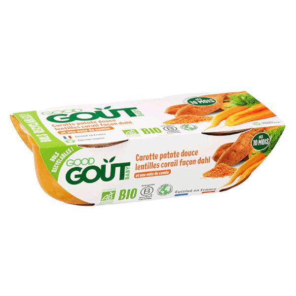 Good Goût Bol Carottes Patate Douce Lentilles Corail Façon Dahl +10m Bio Lot de 2 x 190g