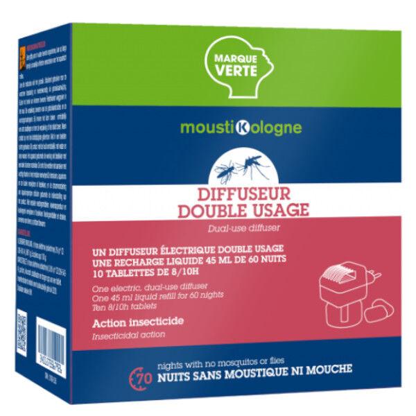 MoustiKologne Mousti KO Diffuseur Electrique Anti-Moustiques + 1 Recharge Liquide