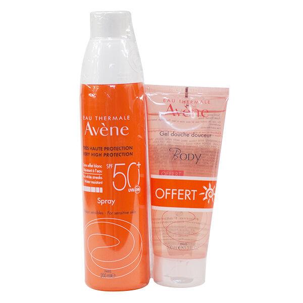 Avène Solaire SPF50+ Spray 200ml + Body Gel Douche Douceur 100ml Offert