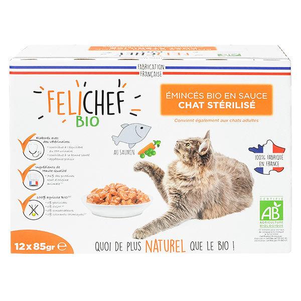 Felichef Emincés en Sauce Chat Stérilisé Saumon Bio 12 sachets