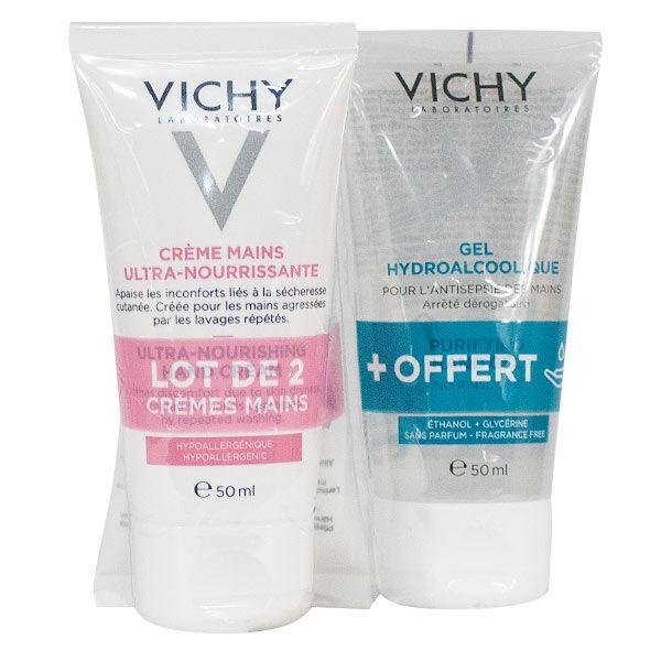 Vichy Crème Mains Lot de 2 x 50ml + Gel Hydroalcoolique 50ml Offert