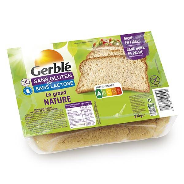 Gerblé Sans Gluten & Sans Lactose Pain Le Grand Nature 230g