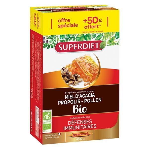 Superdiet Miel Propolis Pollen Bio 20 ampoules 15ml+ 10ampoules offertes