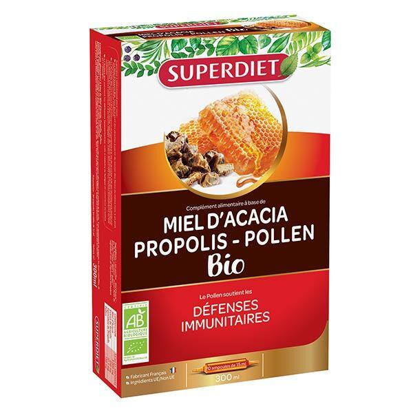 SuperDiet Super Diet Défenses Immunitaires Propolis Miel d'Acacia Pollen Bio 20 ampoules