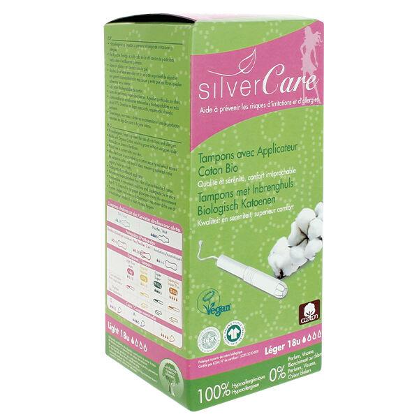 Silvercare Silver Care Tampon en Coton Flux Léger Bio 18 unités
