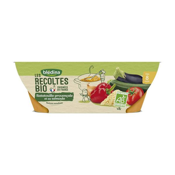 Blédina Récoltes Bio Bol Ratatouille Provençale et sa Semoule +8m 2 x 200g