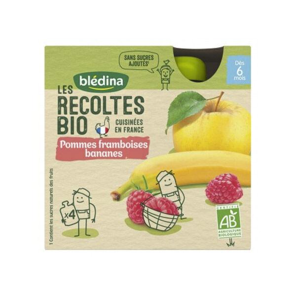 Blédina Récoltes Bio Gourde Pommes Framboises Banane +6m 4 x 90g