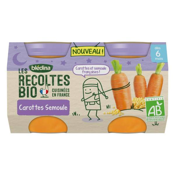 Blédina Récoltes Bio Nuit dès 6 mois Carottes Semoule 2 x 130g