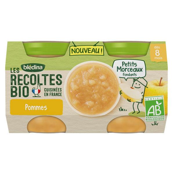 Blédina Récoltes Bio Compotée Avec Morceaux Pomme 2 x 130g
