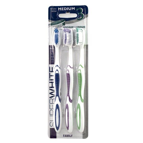 SuperWhite Family Brosse à Dents Medium pack de 3 ProWhite