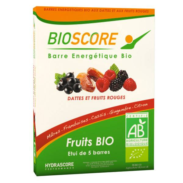 Hydrascore Performance Bioscore Barre Énergétique Bio Dattes et Fruits Rouges 5 unités