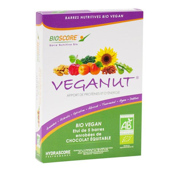Hydrascore Performance Bioscore Veganut Barres Bio et Vegan Abricot Spiruline Chocolat 5 unités