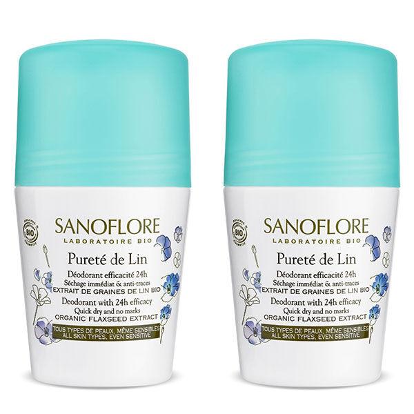 Sanoflore Déodorant Pureté de Lin Roll-On 24h Bio Lot de 2 x 50ml