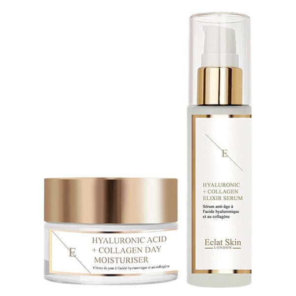 Eclat Skin London Crème de jour à l'Acide Hyaluronique et aux Acides Aminés de Collagène 50ml + Sérum à l'Acide Hyaluronique et au Collagène 60ml