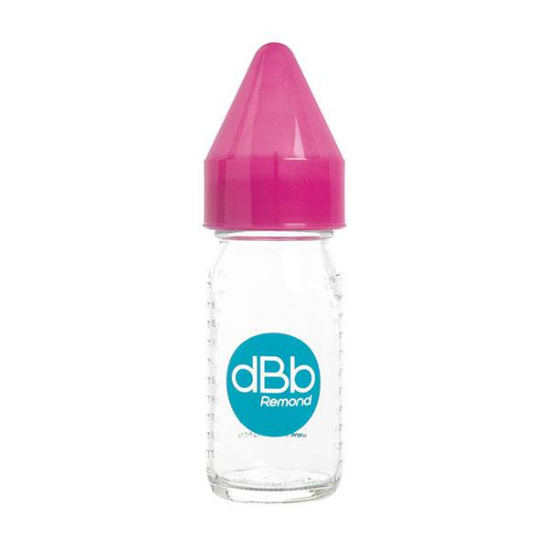 7121758 dBb Remond Biberon Jus de Fruit Régul'Air Verre Rose Translucide 110ml