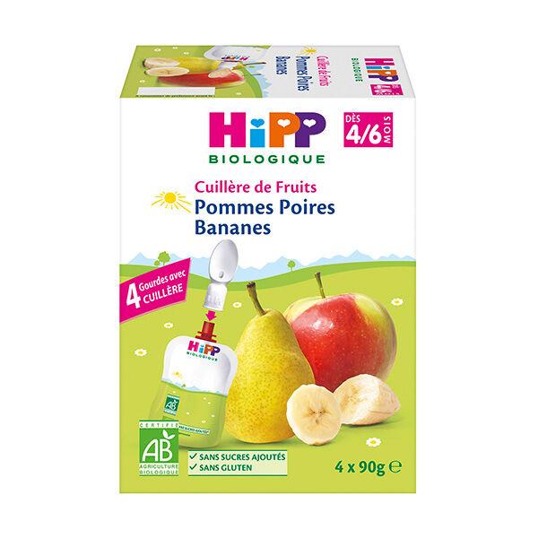 Hipp Bio 100% Fruits Gourde Pommes Poires Bananes +4m 4 x 90g