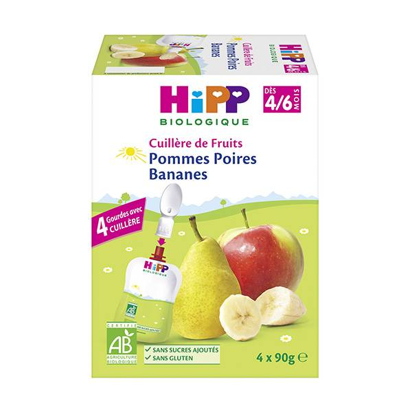 Hipp Bio 100% Fruits Gourde Pommes Poires Bananes 4-6m Lot de 4 x 90g