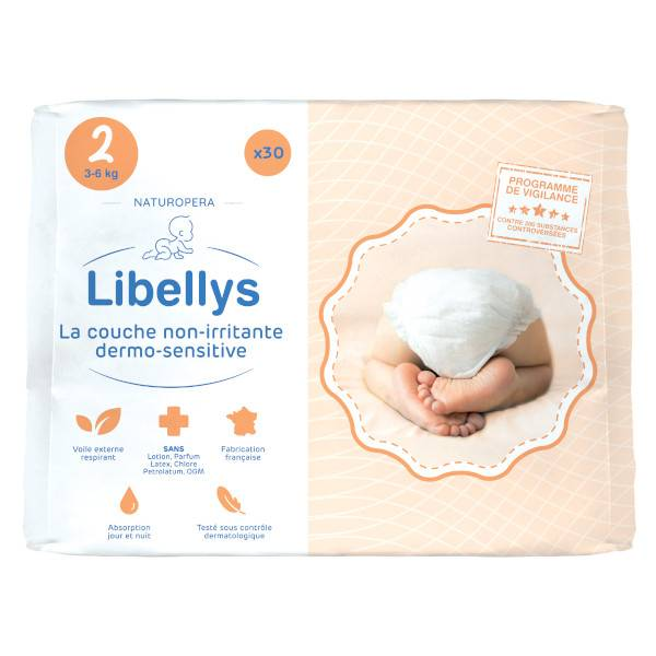 Libellys Couches Non-Irritantes Dermo-Sensitives T2 (3-6 kg) x 30