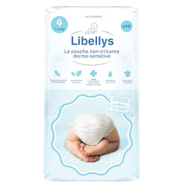 Libellys Couches Non-Irritantes Dermo-Sensitives T4 (7-18 kg) x 48